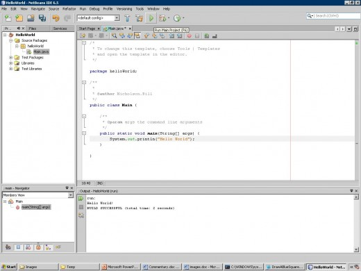 Step 5 - Run the project and note the text in the Output Window
