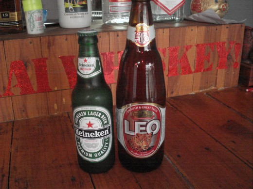 At the 7/11 Heineken (330 ml) will cost you 39 Baht and the Leo (630 ml) just 41 Baht.