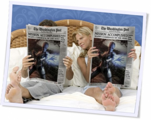 Mass Effect Romance - Liara is in the frontpage of a newspaper