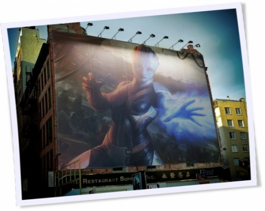 Mass Effect Romance - Liara on a huge commercial block