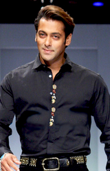 Indian actor Salman Khan walking the ramp for designer Sanjana John, Wills India Fashion Week (WIFW), New Delhi, 2009