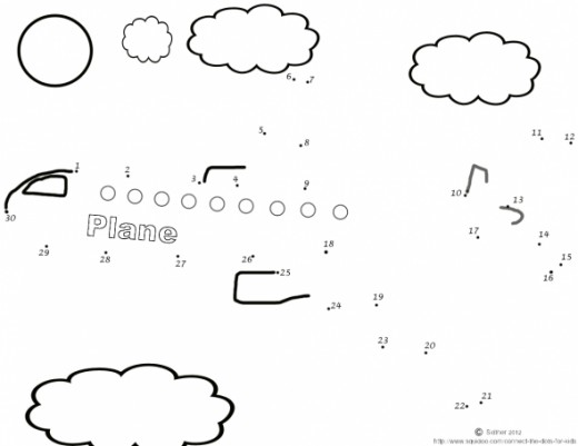 free printable airplane connect the dots activity for children