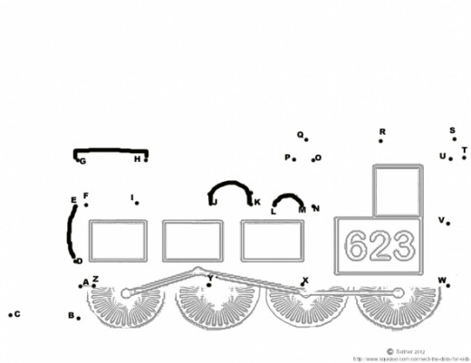 Free printable steam train connect the dots activities for kids