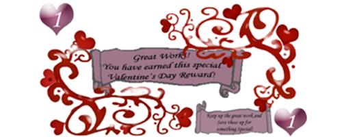 Free Printable reward Bucks for kids: Valentine reward with hearts