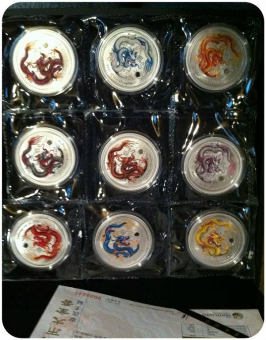 Australia Perth Mint Nine Colored Dragons Chinese Special Release