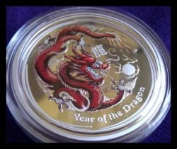 2012 1/2 Ounce Perth Mint Colored Dragon Silver Proof