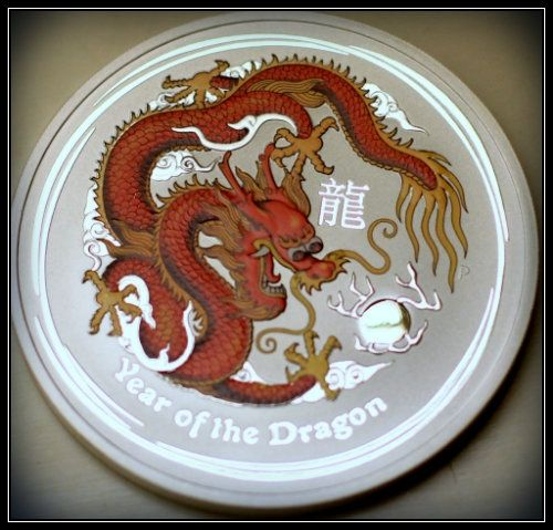 Australian 10 ounce colorized silver Dragon