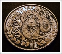 2012 SOMALILAND 1000 SHILLINGS YEAR OF THE DRAGON 1 OZ. SILVER COIN