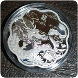 Canada 2012 Year of the Dragon Chinese Lunar Zodiac $15 Lotus Shaped Pure Silver Proof L5