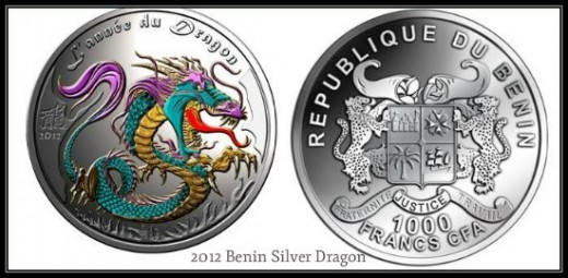 2012 000 Francs Benin 1 Oz Silver Dragon Coin