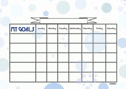 Bubbles Goals Chart.  Kids Behavior Chart Template