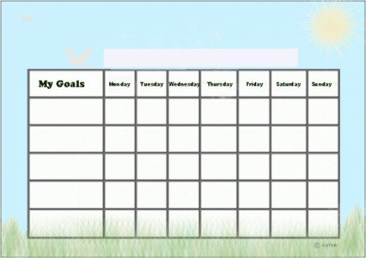 Sunny day goals chart.