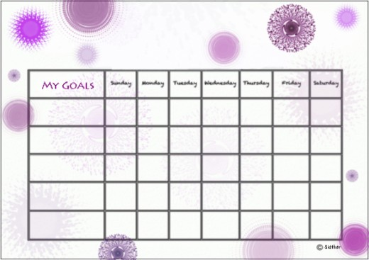 Purple swirls goals chart.