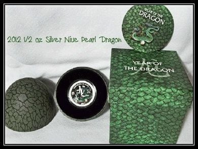 2012 1/2 oz Silver Nieu $2 Pearl Dragon