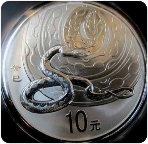 2013 10 Yuan Chinese Year of the Snake Silver Coin