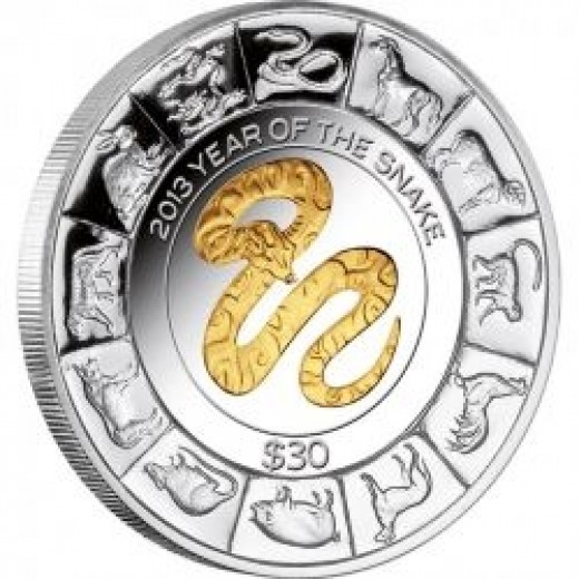 2013 US Virgin Islands 5 oz Gilded Silver Lunar Snake Coin
