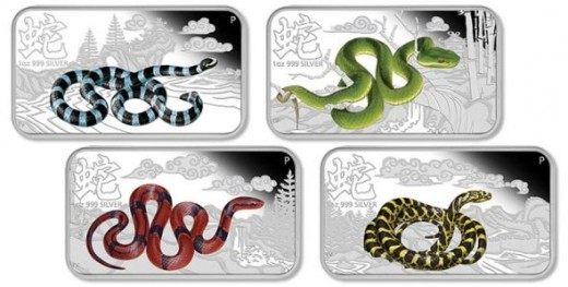 Cook Islands 2013 Snake Rectangle 1 oz Silver Proof