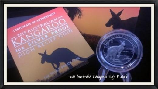 2013 Australian Silver High Relief Kangaroo