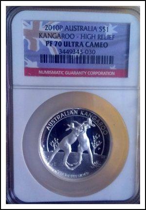 2010 Australian Silver High Relief Kangaroo