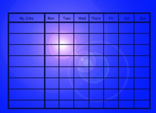 Free Printable Chore Chart: Bright Blue Chore Chart:  Will use a LOT of ink.
