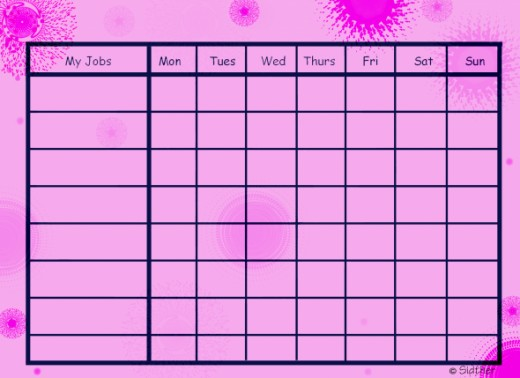 Free Printable Chore Chart: Pink Retro Chore Chart:  This will use a lot of red ink (if your printer uses 3 color cartridge as opposed to 6- a 6 color will also use magenta).