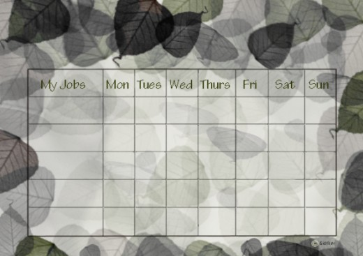 The natural camouflage chore chart will use quite a lot of ink