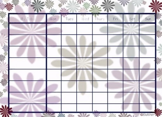 Free Printable Chore Chart: Flower Chore Chart: Will use a moderate amount of ink.
