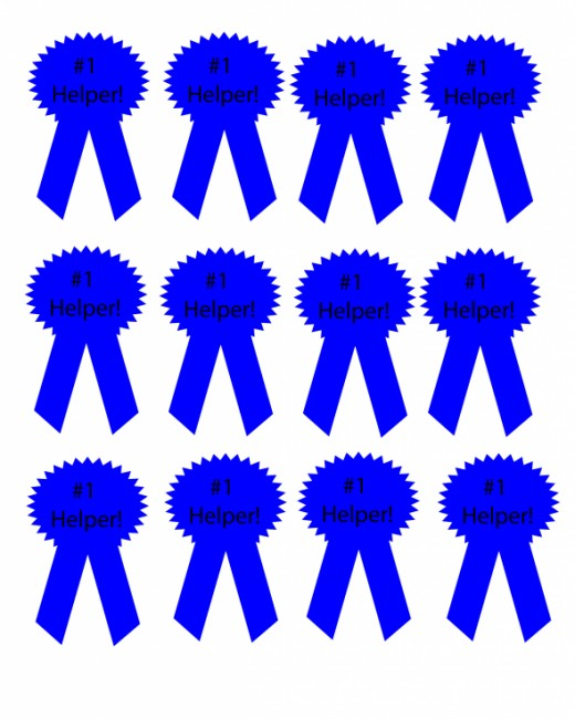 Free Prinatable Rewards for Kids: Blue Ribbon Cut Outs