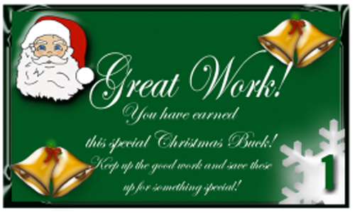 Free Printable reward Bucks: Santa on Green