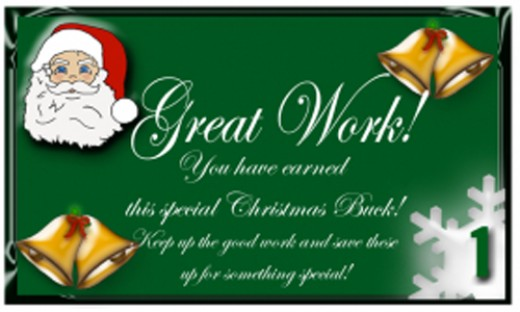 Free Printable reward Bucks: Santa on Green