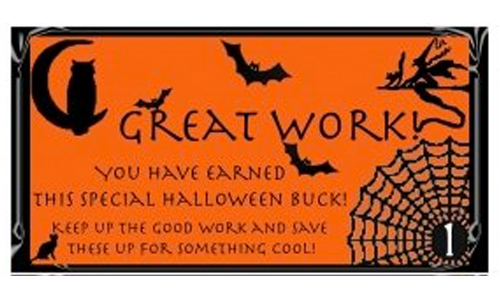 Free Printable Reward buck preview: Halloween on Orange