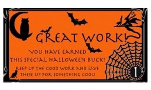 Free Printable Reward buck preview: Halloween on Orange