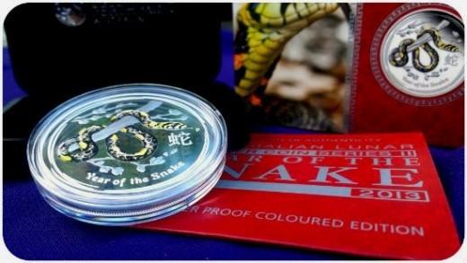 2013 1 oz Australia Perth Mint Silver Lunar Snake Colored Proof