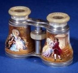A very nice pair of painted French Opera Glasses