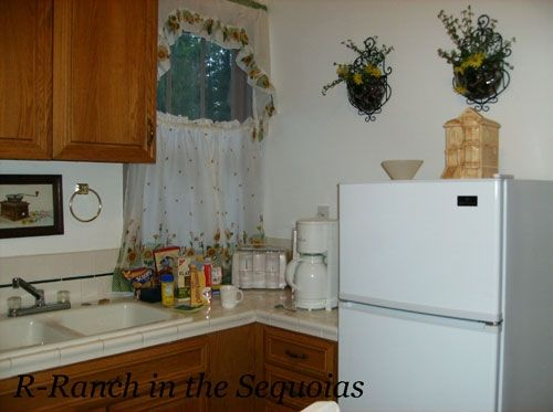 The kitchen with fridge and sink and stove