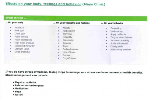 Mayo Clinic: effects on our body, thoughts, feelings and behavior