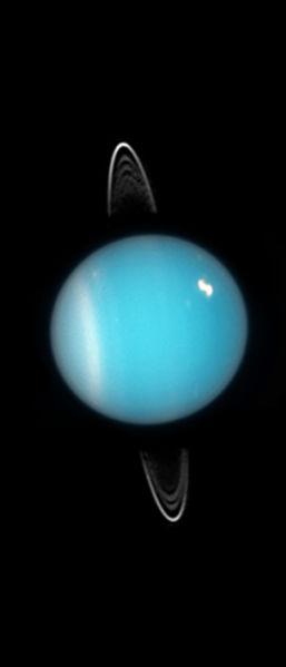 The rings and white storm spot on Uranus