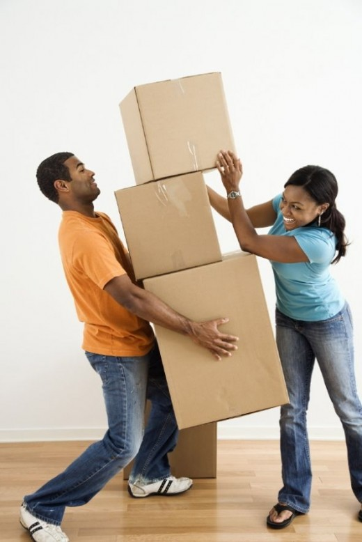 Young adults moving