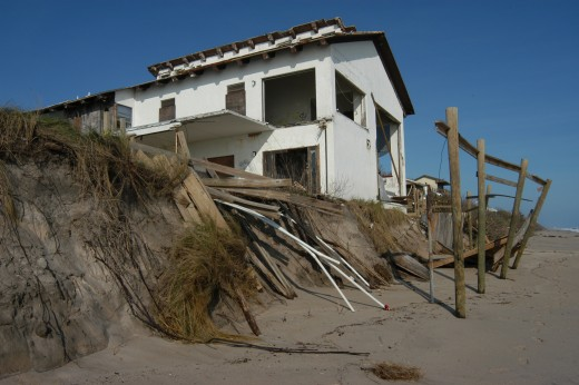 Damage done by Hurricane Jeanne to a beachside home