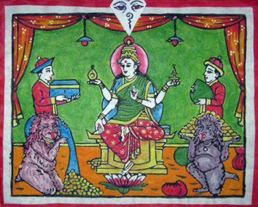 Drawing of Laxmi, goddess of wealth, and a pair of khyahs in the foreground