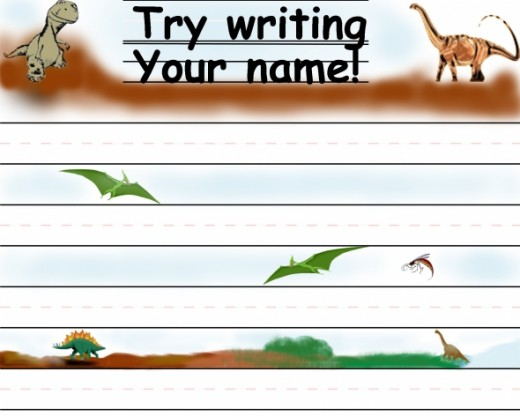 Practicing writing name