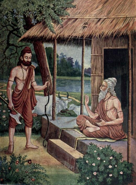 Rishi Jamadagni (father) telling Parasuram (Son) about kartyaveerarjun