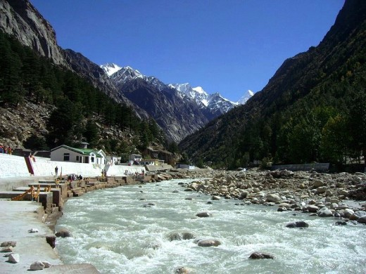 View of serene Gangotri in the morning