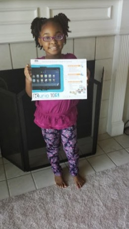 Here is my daughter Lauren with her new Kurio tablet for her birthday.