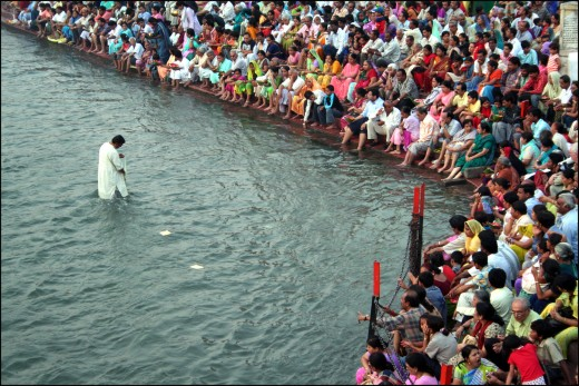 A public prayer in the River Ganges in the Indian holy city of Haridwar