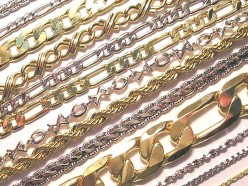 Gold chains of various designs.