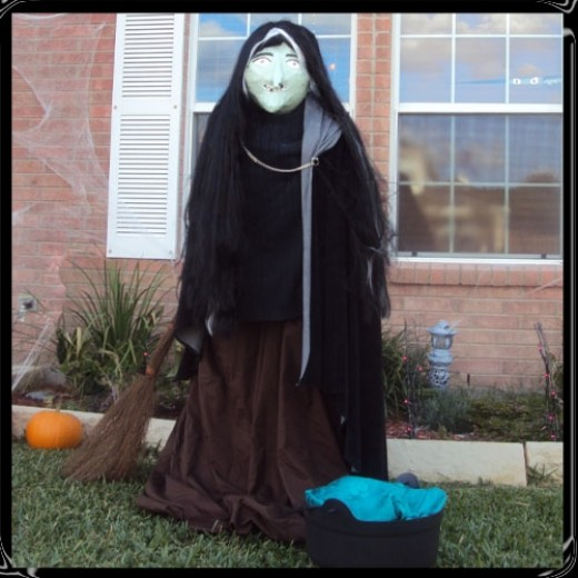 This life sized witch decoration was free to make!