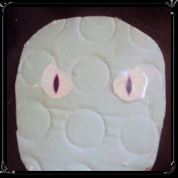 At night light bounces off of the reflective eyes, startling passers by! It was free to make!