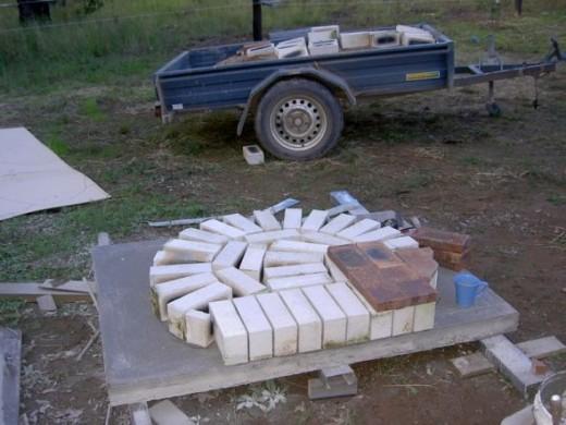 Bricks laid on edge on dome slab