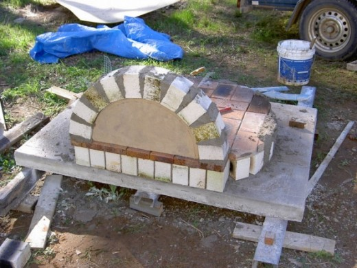Arch, note template to support bricks till dry